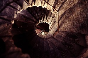 Spiral stairs in the old house