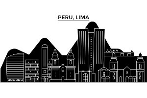 Peru, Lima architecture vector city skyline, travel cityscape with landmarks, buildings, isolated sights on background
