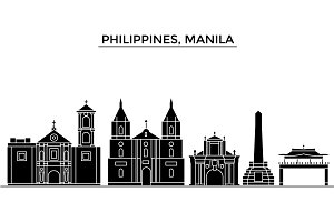 Philippines, Manila architecture vector city skyline, travel cityscape with landmarks, buildings, isolated sights on background