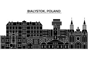 Poland, Bialystok architecture vector city skyline, travel cityscape with landmarks, buildings, isolated sights on background