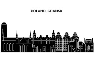 Poland, Gdansk architecture vector city skyline, travel cityscape with landmarks, buildings, isolated sights on background