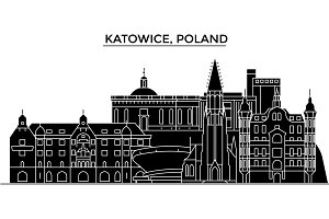 Poland, Katowice architecture vector city skyline, travel cityscape with landmarks, buildings, isolated sights on background