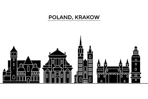 Poland, Krakow architecture vector city skyline, travel cityscape with landmarks, buildings, isolated sights on background