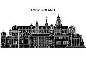 Poland, Lodz architecture vector city skyline, travel cityscape with landmarks, buildings, isolated sights on background