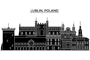 Poland, Lublin architecture vector city skyline, travel cityscape with landmarks, buildings, isolated sights on background