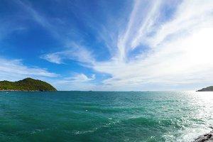 Panorama beach sea and sky.