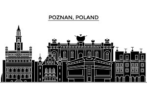 Poland, Poznan architecture vector city skyline, travel cityscape with landmarks, buildings, isolated sights on background