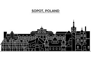 Poland, Sopot architecture vector city skyline, travel cityscape with landmarks, buildings, isolated sights on background