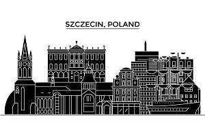 Poland, Szczecin architecture vector city skyline, travel cityscape with landmarks, buildings, isolated sights on background