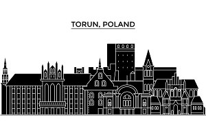 Poland, Torun architecture vector city skyline, travel cityscape with landmarks, buildings, isolated sights on background