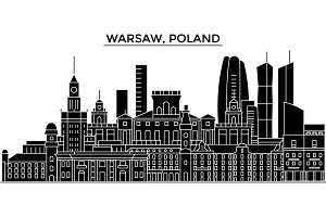 Poland, Warsaw architecture vector city skyline, travel cityscape with landmarks, buildings, isolated sights on background