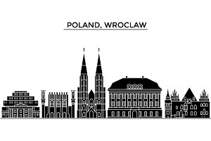 Poland, Wroclaw architecture vector city skyline, travel cityscape with landmarks, buildings, isolated sights on background