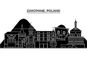 Poland, Zakopane architecture vector city skyline, travel cityscape with landmarks, buildings, isolated sights on background