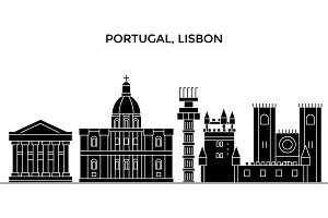 Portugal, Lisbon architecture vector city skyline, travel cityscape with landmarks, buildings, isolated sights on background