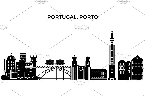 Portugal Porto Architecture Vector City Skyline Travel Cityscape With Landmarks Buildings Isolated Sights On Background