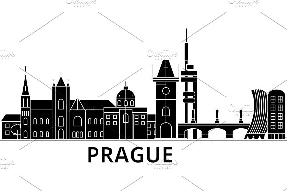 Prague Architecture Vector City Skyline Travel Cityscape With Landmarks Buildings Isolated Sights On Background