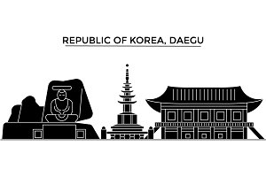 Republic Of Korea, Daegu architecture vector city skyline, travel cityscape with landmarks, buildings, isolated sights on background