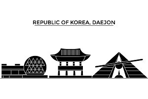 Republic Of Korea, Daejon architecture vector city skyline, travel cityscape with landmarks, buildings, isolated sights on background
