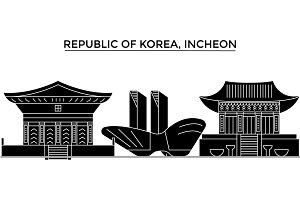 Republic Of Korea, Incheon architecture vector city skyline, travel cityscape with landmarks, buildings, isolated sights on background
