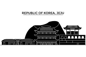 Republic Of Korea, Jeju architecture vector city skyline, travel cityscape with landmarks, buildings, isolated sights on background