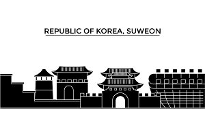 Republic Of Korea, Suweon architecture vector city skyline, travel cityscape with landmarks, buildings, isolated sights on background