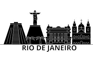 Rio De Janeiro architecture vector city skyline, travel cityscape with landmarks, buildings, isolated sights on background