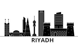 Riyadh architecture vector city skyline, travel cityscape with landmarks, buildings, isolated sights on background