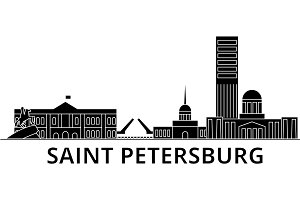 Sankt Petersburg architecture vector city skyline, travel cityscape with landmarks, buildings, isolated sights on background