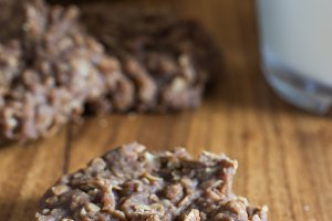 Chocolate No-Bake Cookies and Milk