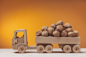 Walnuts in toy truck.