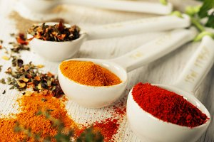 Herbs and spices selectionon