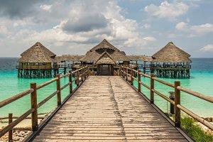 Bar and cafe on water in Zanzibar, Tanzania