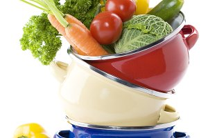 vegetables in a cooking pot