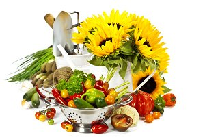 vegetables, flowers and garden tools
