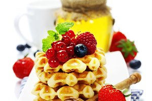 Belgian waffles with honey