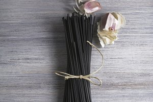 Raw black spaghetti with squid ink