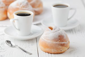 black coffee and sweet bun