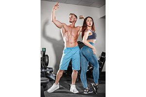 sport fit couple at gym.