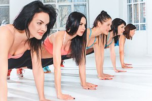 Group training in a gym of a fitness center