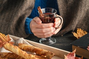 Cozy autumn evening with mulled wine