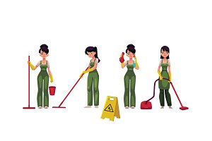 Cleaning service girl, charwoman with vacuum cleaner, mop and bucket