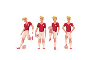Set of soccer, football player in different positions with ball