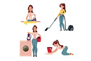 Woman, housewife doing chores - ironing, washing, vacuum cleaning, mopping floors