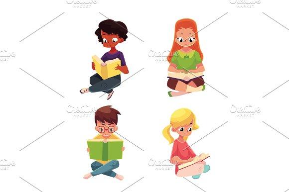 Children Boys And Girls Reading Interesting Book Sitting On Floor