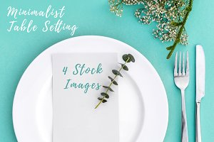 Minimalist Table Setting. Top view