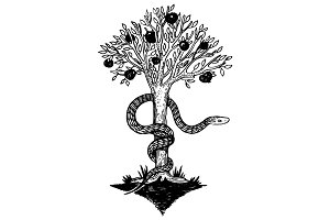 Snake and tree of life engraving vector