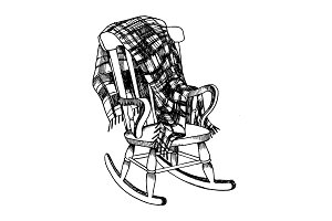 Rocking chair and plaid engraving vector