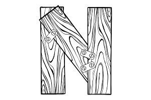Wooden letter N engraving vector illustration