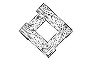 Wooden letter O engraving vector illustration