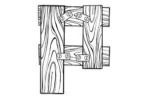 Wooden letter P engraving vector illustration